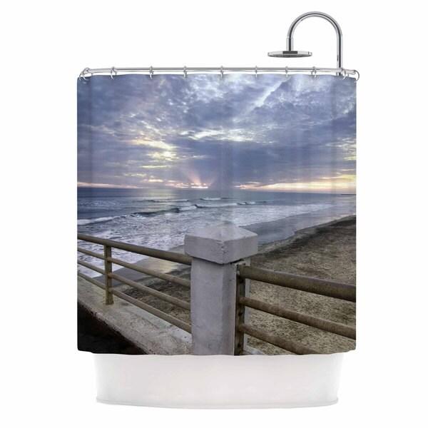 KESS InHouse Nick Nareshni Oceanside Pier At Sunset Black Blue Shower Curtain (69x70)