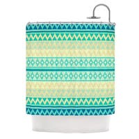 KESS InHouse Nika Martinez Glitter Chevron in Teal Blue Pattern Shower Curtain (69x70) - 69 x 70
