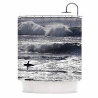 KESS InHouse Nick Nareshni Lone Surfer Blue Tan Shower Curtain (69x70)