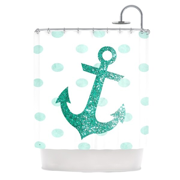 KESS InHouse Nika Martinez Glitter Anchor in Mint Teal Shower Curtain (69x70)