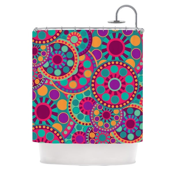 KESS InHouse Nika Martinez Valencia Pink Teal Shower Curtain (69x70)