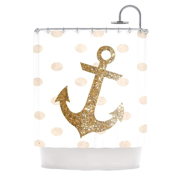 KESS InHouse Nika Martinez Glitter Anchor Gold Sparkles Shower Curtain (69x70)