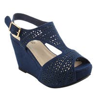 BONNIBEL FJ01 Women's Platform Wedge Heel Cut Out Sling Back Sandals