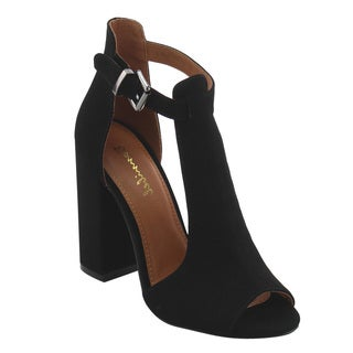 BONNIBEL FI89 Women's Chunky Heel Ankle Strap Cut Out Booties Sandals