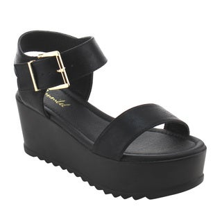 X2B FI96 Women's Basic Platform Wedge Heel Ankle Strap Sandals