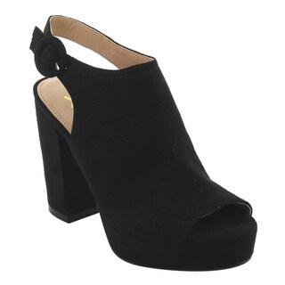 BONNIBEL FI91 Women's Platform Chunky Heel Sling Back Booties Sandals