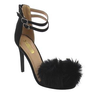 X2B FI86 Women's Trendy Stiletto Heel Pom Pom Ankle Strap Sandals
