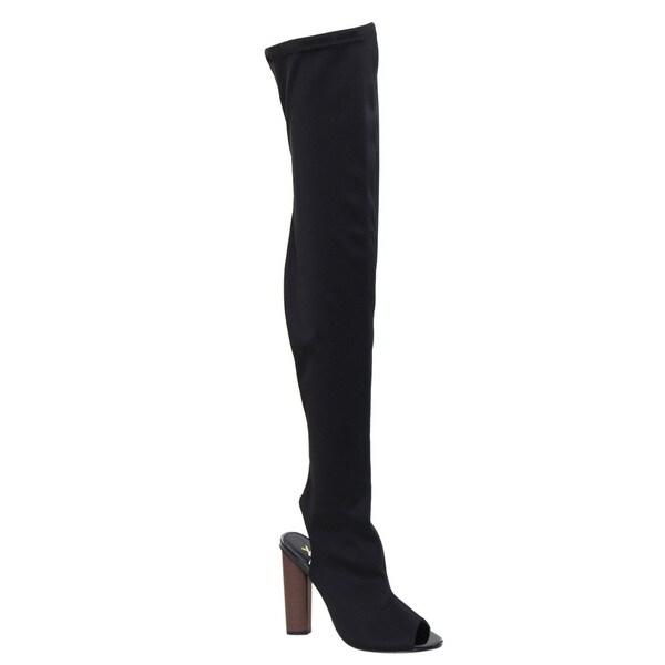 9630ba79a41c X2B FI84 Women  x27 s Chunky Stacked Heel Peep Toe Thigh High Stretchy Boots