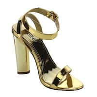 X2B FI94 Women's Metallic Chunky Heel Single Band Dress Sandals