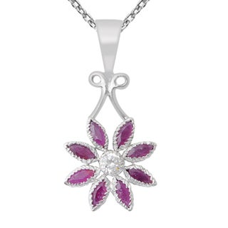 Orchid Jewelry Cubic Zirconia and Ruby Sterling Silver Pendant Necklace