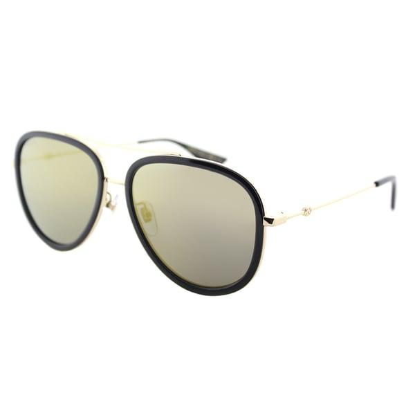 4e1b737b60b Gucci Black Goldtone Metal and Gold Mirror Lens Aviator Sunglasses
