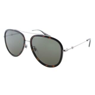 Gucci GG 0062S 002 Women's Havana Ruthenium Silver Metal Aviator Sunglasses