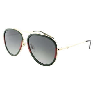 Gucci Women's GG 0062S 003 Red-striped/Green/Gold Metal Aviator Sunglasses with Grey Gradient Lens