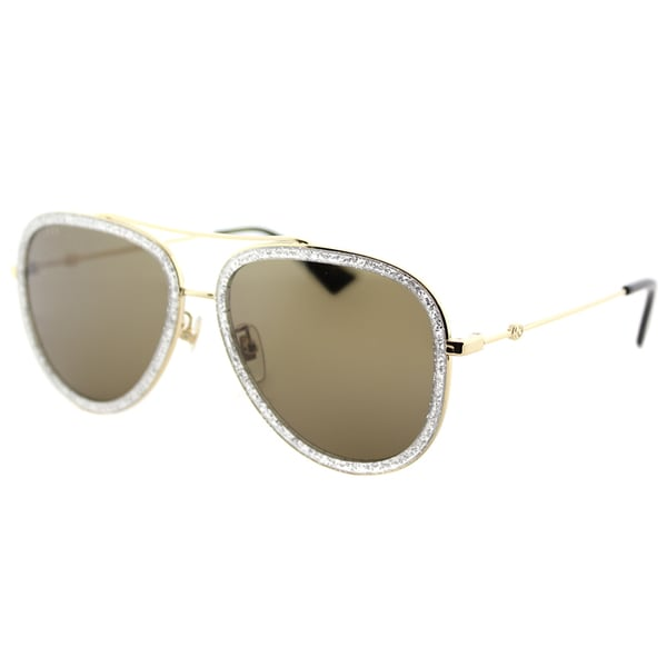 a5404fc6fa Gucci GG 0062S 004 Silver Sparkle Goldtone Metal Brown Lens Aviator  Sunglasses. Click to Zoom