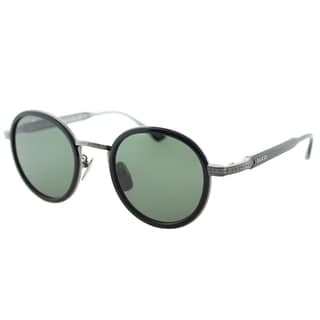 Gucci GG 0067S 001 Black Ruthenium Titanium Round Sunglasses Green Lens
