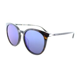 Gucci Unisex GG 0064SK 003 Havana Plastic Round Sunglasses with Blue Mirror Lenses