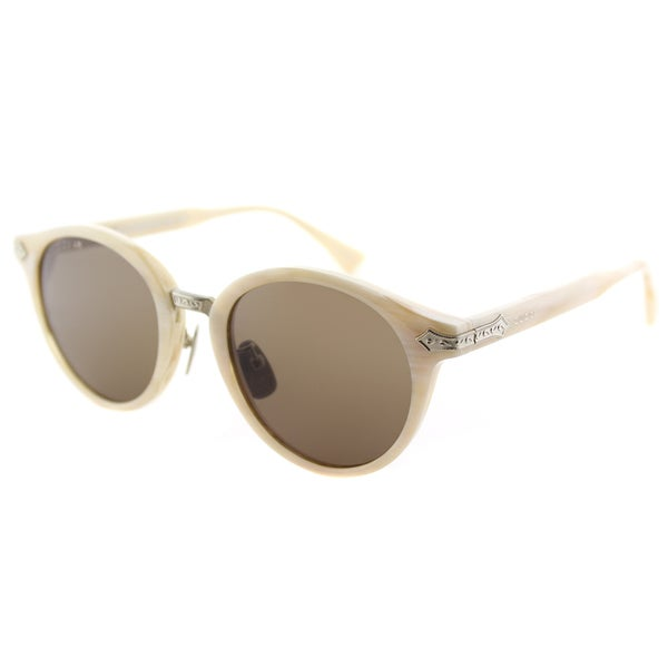 9f025518245 Shop Gucci GG 0066S 002 White Horn Plastic Round Sunglasses Brown ...