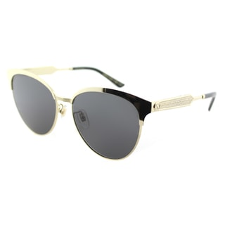 Gucci GG 0074S 003 Gold Metal Round Sunglasses Grey Lens