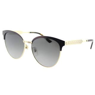 Gucci Women's GG 0074S 004 Burgundy Metal Round Sunglasses with Grey Gradient Lenses