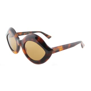 Gucci GG 0085S 003 Women's Havana Plastic Fashion Sunglasses with Brown Lenses