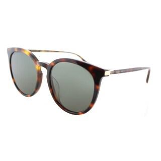 Gucci GG 0064SK 005 Havana Green Lens Plastic Round Sunglasses
