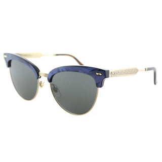 Gucci GG 0055S 003 White Gold Plastic Cat-Eye Sunglasses Brown Gradient Lens