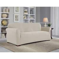 Tailor Fit Stretch Grid Sofa Slipcover in Putty (As Is Item)