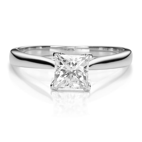 Charles & Colvard 14k White Gold 1ct DEW Square Brilliant Forever One Near Colorless Moissanite Solitaire Ring