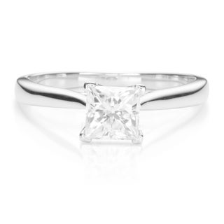 Charles & Colvard 14k White Gold 1ct DEW Square Brilliant Forever One Near Colorless Moissanite Solitaire Ring (5 options available)
