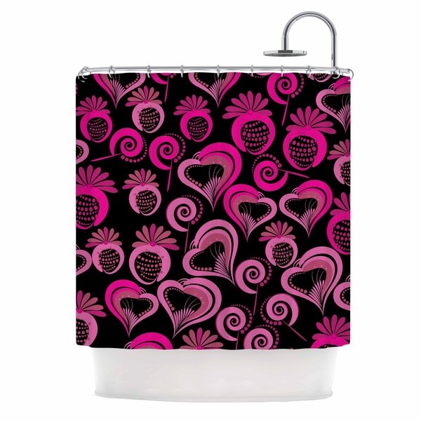 KESS InHouse Maria Bazarova Sweet Love Pink Black Shower Curtain (69x70)