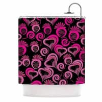 KESS InHouse Maria Bazarova Sweet Love Pink Black Shower Curtain (69x70)