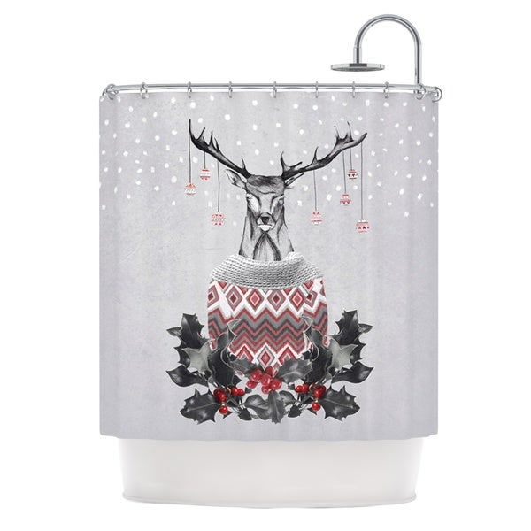 KESS InHouse Nika Martinez Christmas Deer Snow White Holiday Shower Curtain (69x70) - 69 x 70