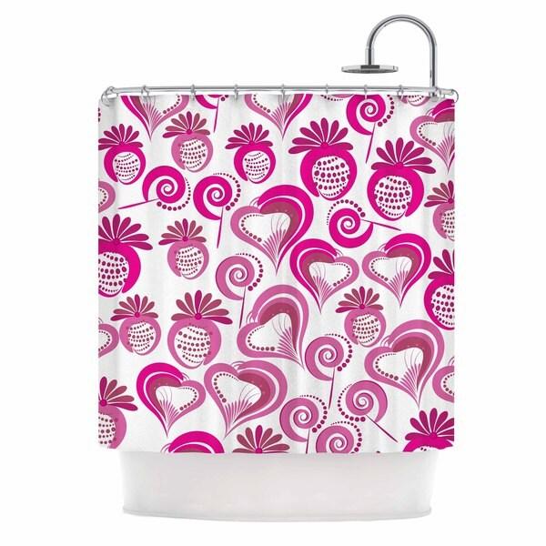 KESS InHouse Maria Bazarova Sweet Love 2 Pink White Shower Curtain (69x70)