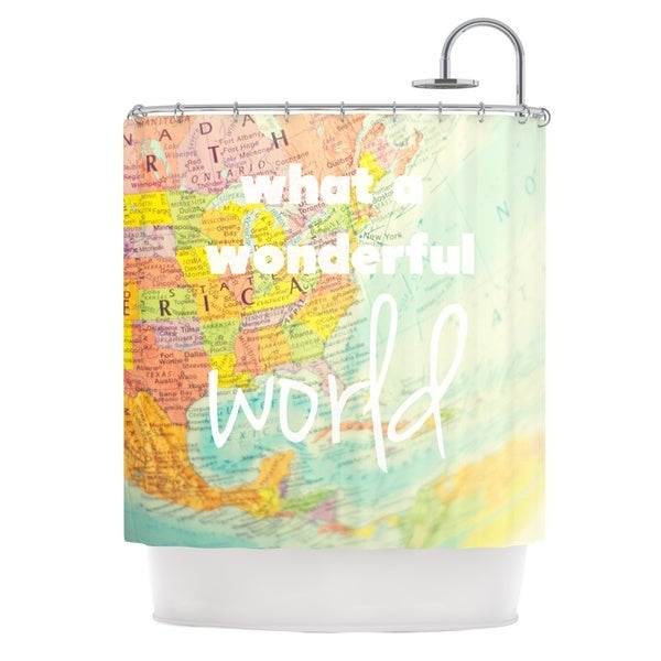 KESS InHouse Libertad Leal What a Wonderful World Map Shower Curtain (69x70)