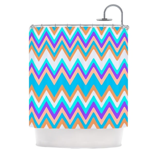 KESS InHouse Nika Martinez Girly Surf Chevron Shower Curtain (69x70) - 69 x 70