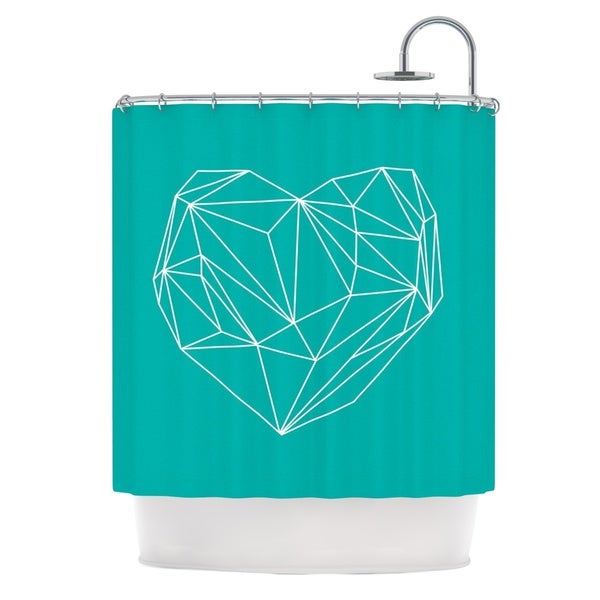 KESS InHouse Mareike Boehmer Heart Graphic Turquoise Teal Abstract Shower Curtain (69x70)