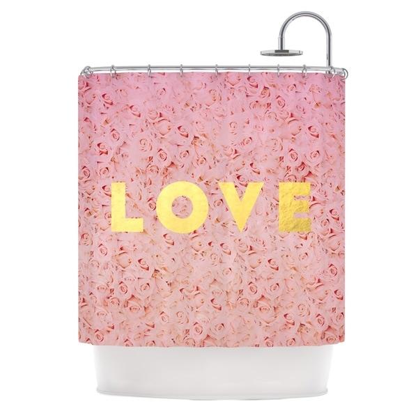 KESS InHouse Leah Flores Love Roses Pink Flowers Shower Curtain (69x70)