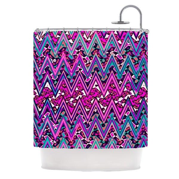 KESS InHouse Nika Martinez Pink Electric Chevron Shower Curtain (69x70)