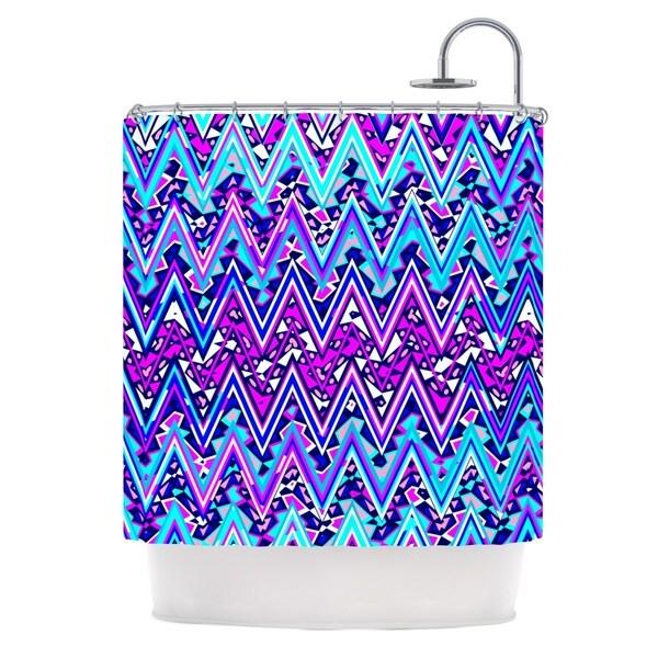 KESS InHouse Nika Martinez Blue Electric Chevron Shower Curtain (69x70) - 69 x 70