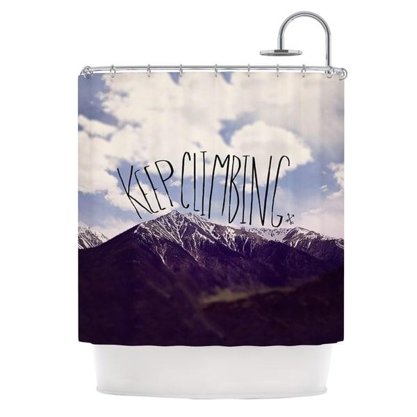 KESS InHouse Leah Flores Keep Climbing Mountain Quote Shower Curtain (69x70)