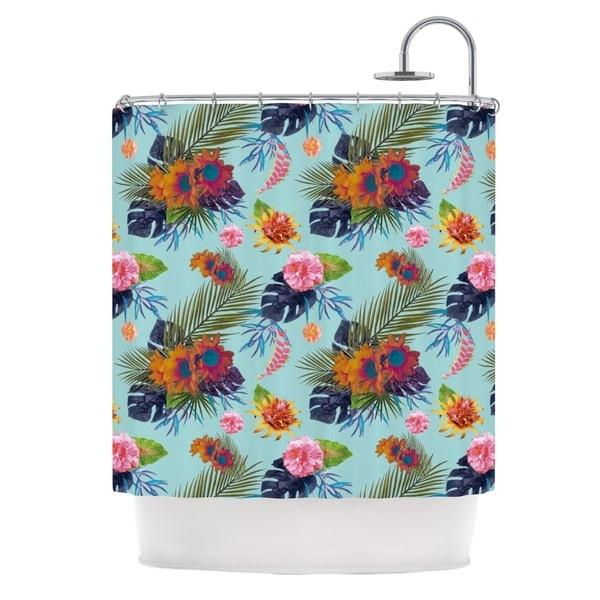 KESS InHouse Nika Martinez Tropical Floral Blue Flowers Shower Curtain (69x70)