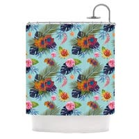 KESS InHouse Nika Martinez Tropical Floral Blue Flowers Shower Curtain (69x70)