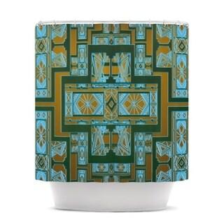 KESS InHouse Nika Martinez Golden Art Deco Green & Blue Shower Curtain (69x70)