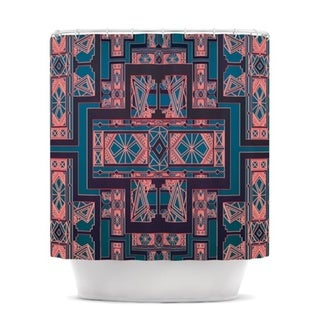 KESS InHouse Nika Martinez Golden Art Deco Blue & Coral Shower Curtain (69x70)