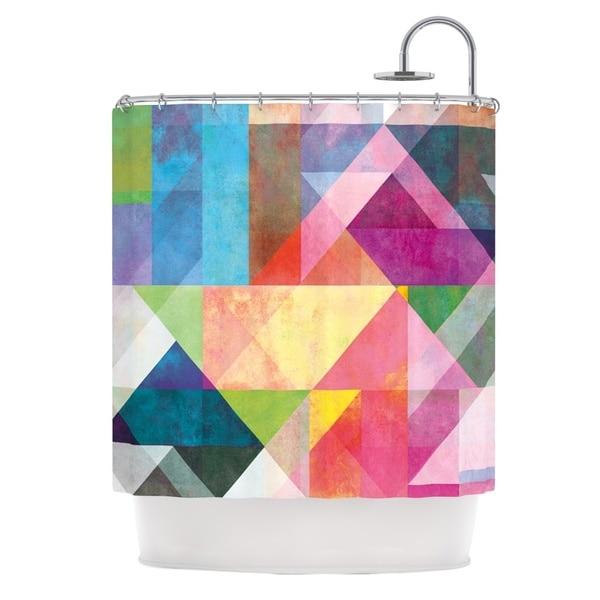 KESS InHouse Mareike Boehmer Color Blocking Rainbow Abstract Shower Curtain (69x70)