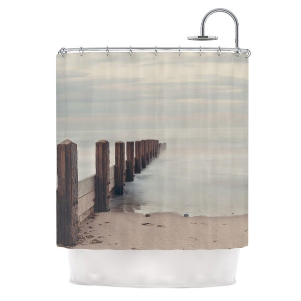 Delicieux KESS InHouse Laura Evans Brush Strokes Brown Gray Shower Curtain (69x70)