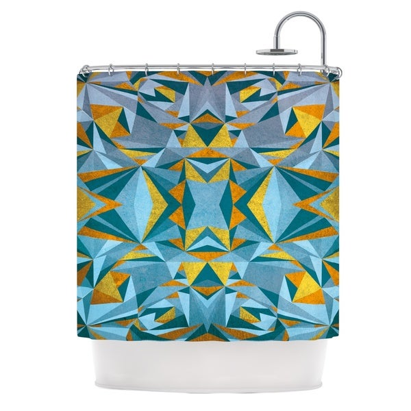KESS InHouse Nika Martinez Abstraction Blue & Gold Shower Curtain (69x70)