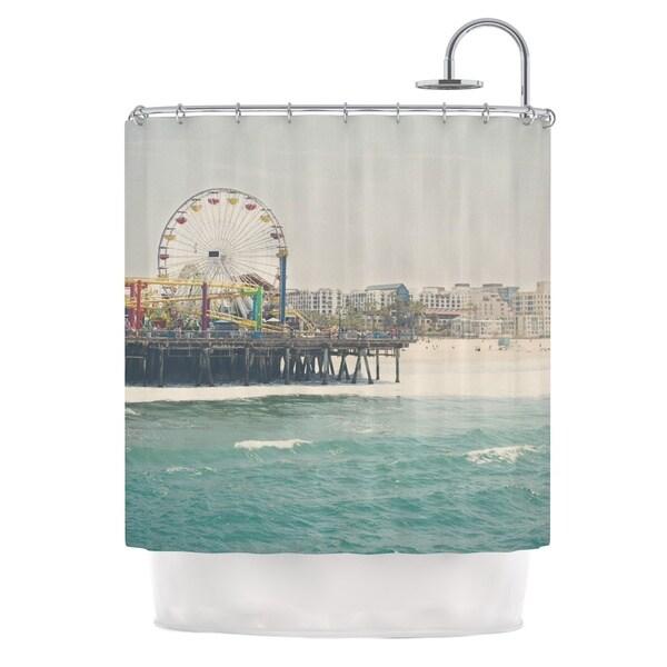 KESS InHouse Laura Evans The Pier at Santa Monica Coastal Teal Shower Curtain (69x70)