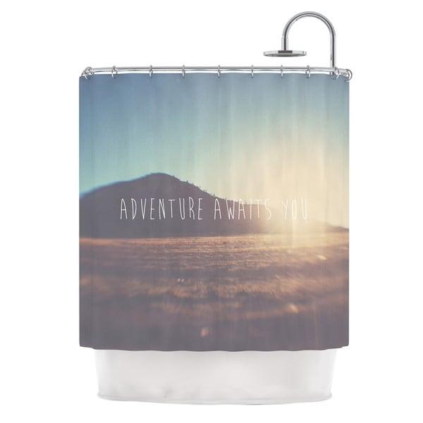 KESS InHouse Laura Evans Adventure Awaits You Coastal Typography Shower Curtain (69x70)