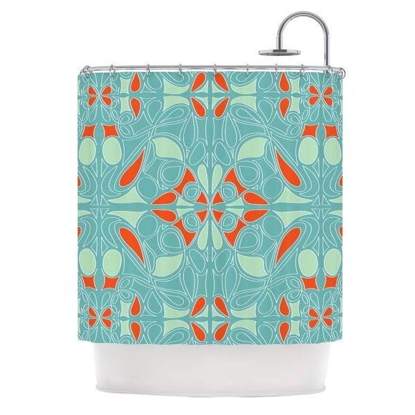 KESS InHouse Miranda Mol Seafoam and Orange Shower Curtain (69x70)